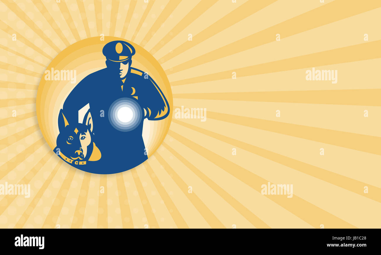 Business card template showing illustration of a security guard business card template showing illustration of a security guard policeman with police guard dog and flashlight facing front set inside circle done in retro accmission Choice Image