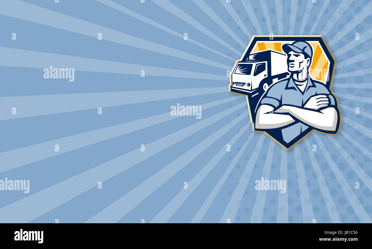 Business card template illustration of a removal man delivery guy ...