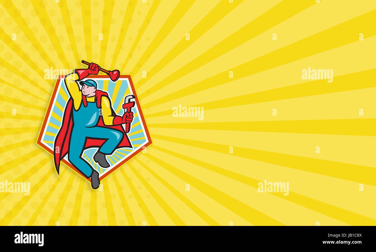 Business card template illustration of a superhero super plumber ...
