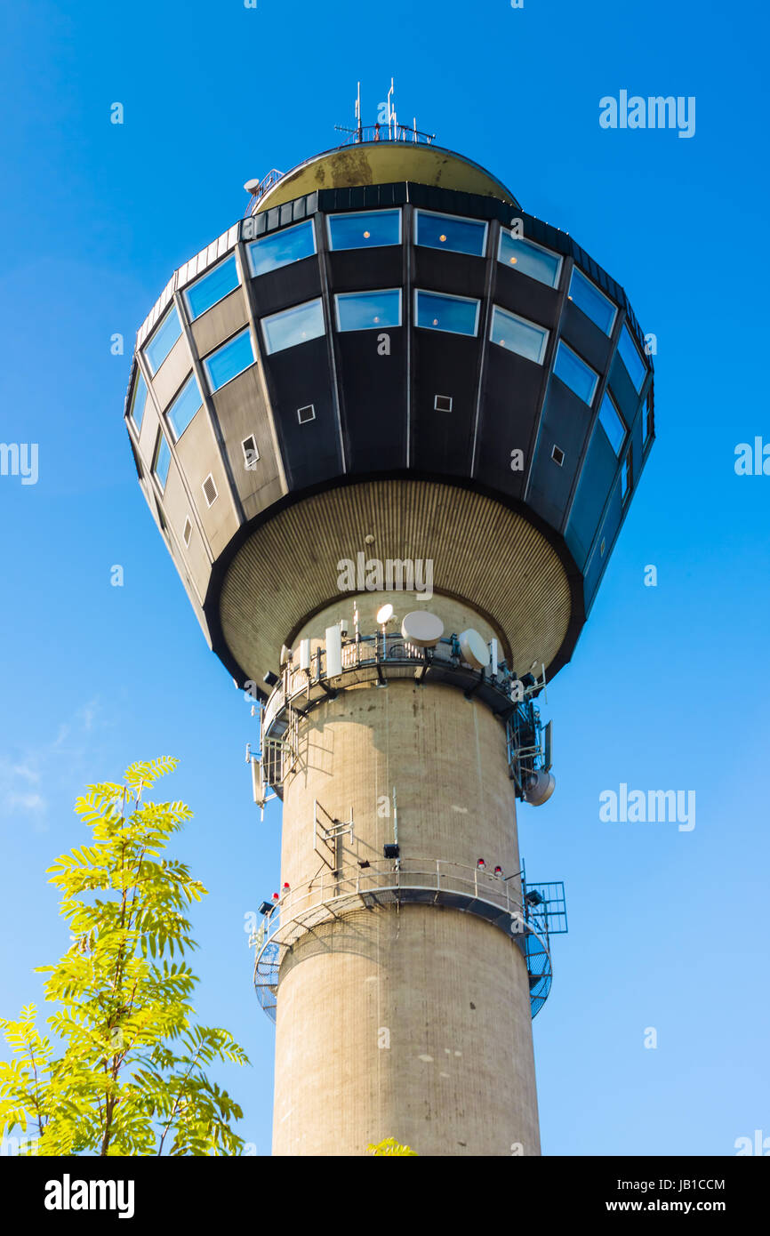 The Puijo tower is a 75 metres (246 ft) high observation tower in Kuopio, Eastern Finland.[ Stock Photo