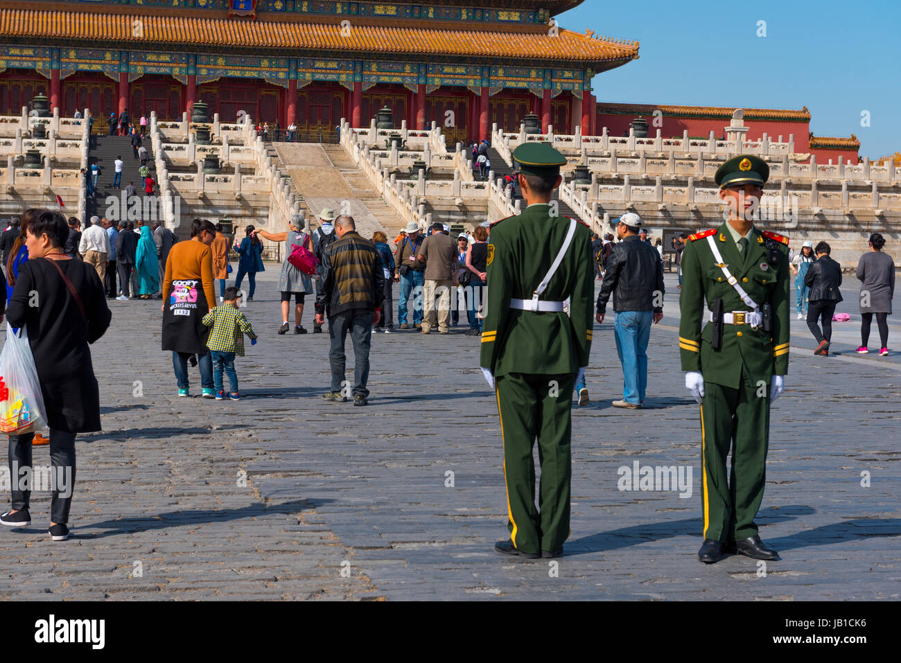 Soldiers stand guard in the forbidden city, in Beijing China - Stock Image