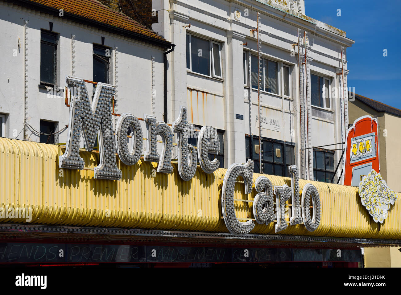 Monte Carlo amusement arcade building, Marine Parade, Southend on Sea, Essex. Space for copy - Stock Image