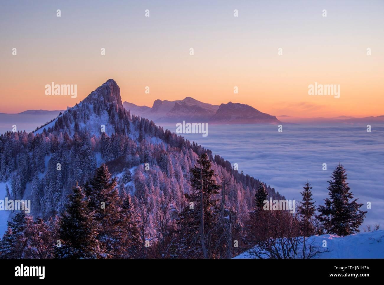 Sunset view 'La Grande Sûre' Chartreuse, FRANCE - Stock Image