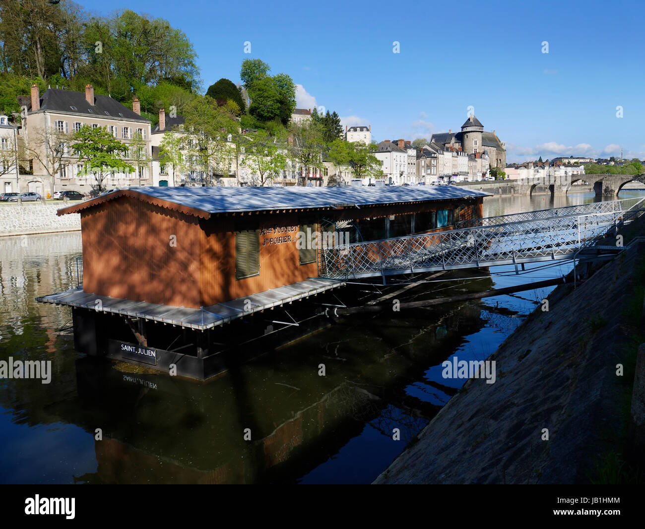 The Saint Julien boat-vessel, built in 1904, ceased its activity in 1970, classified Historical Monument in 1993, - Stock Image