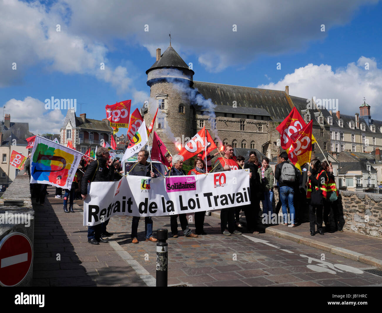 Trade unionists protest against the reform of the Labor Code (April 2016) in Laval city (Mayenne department, Loire - Stock Image
