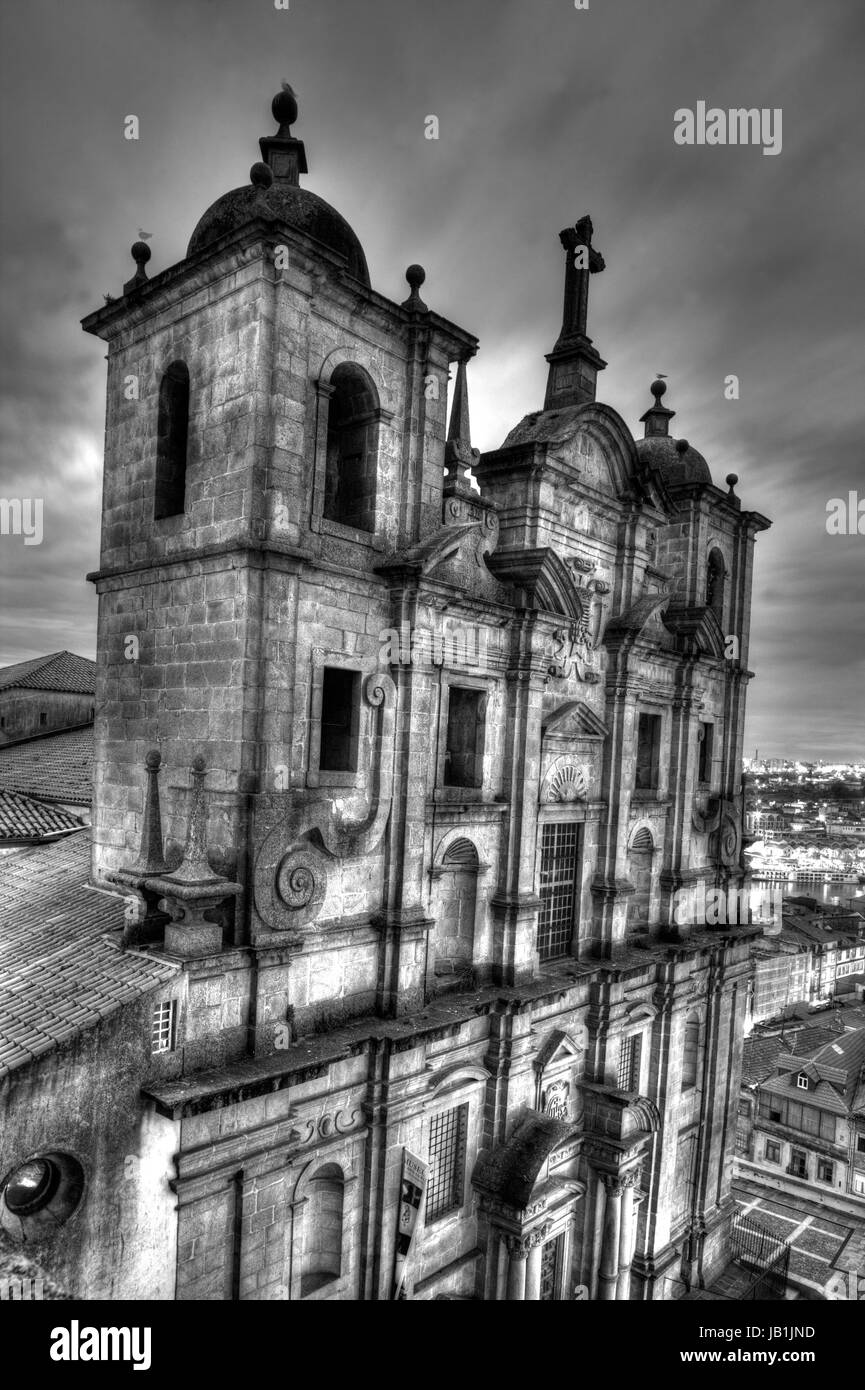 Igreja Santo Lourenco at dusk, Oporto, Porto, portugal, Europe - Stock Image