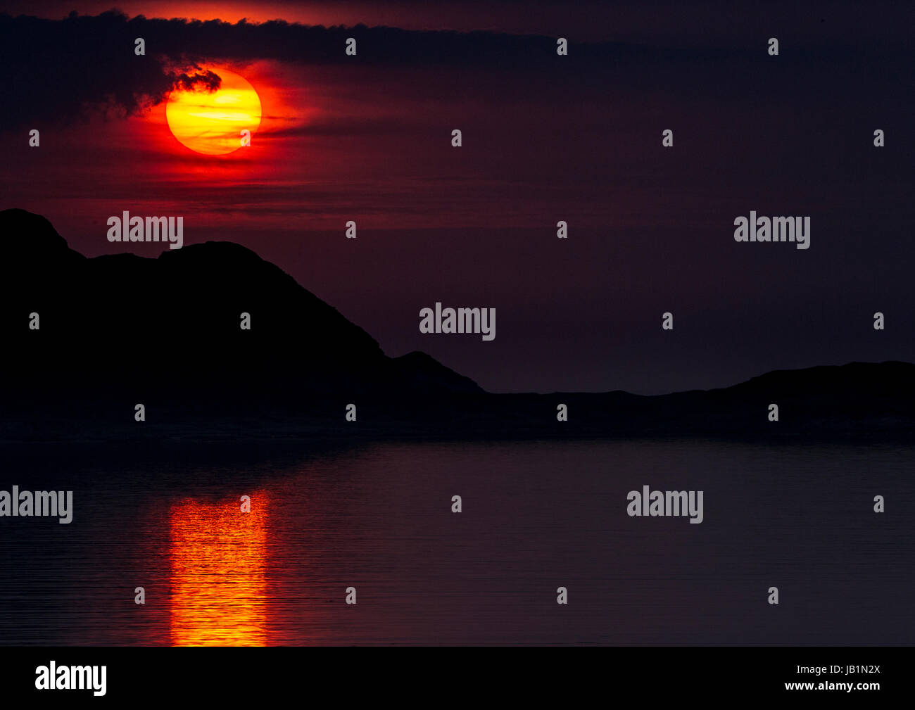 Sunset over Mull, from Bunessan on Mull.  Inner Hebrides - Stock Image