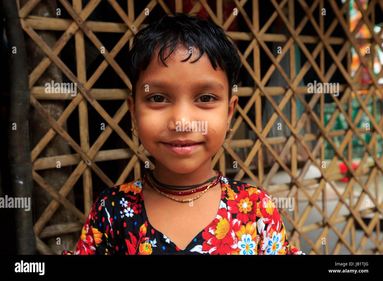 Portrait of a Bangladeshi rural girl. Narail, Bangladesh. - Stock Image