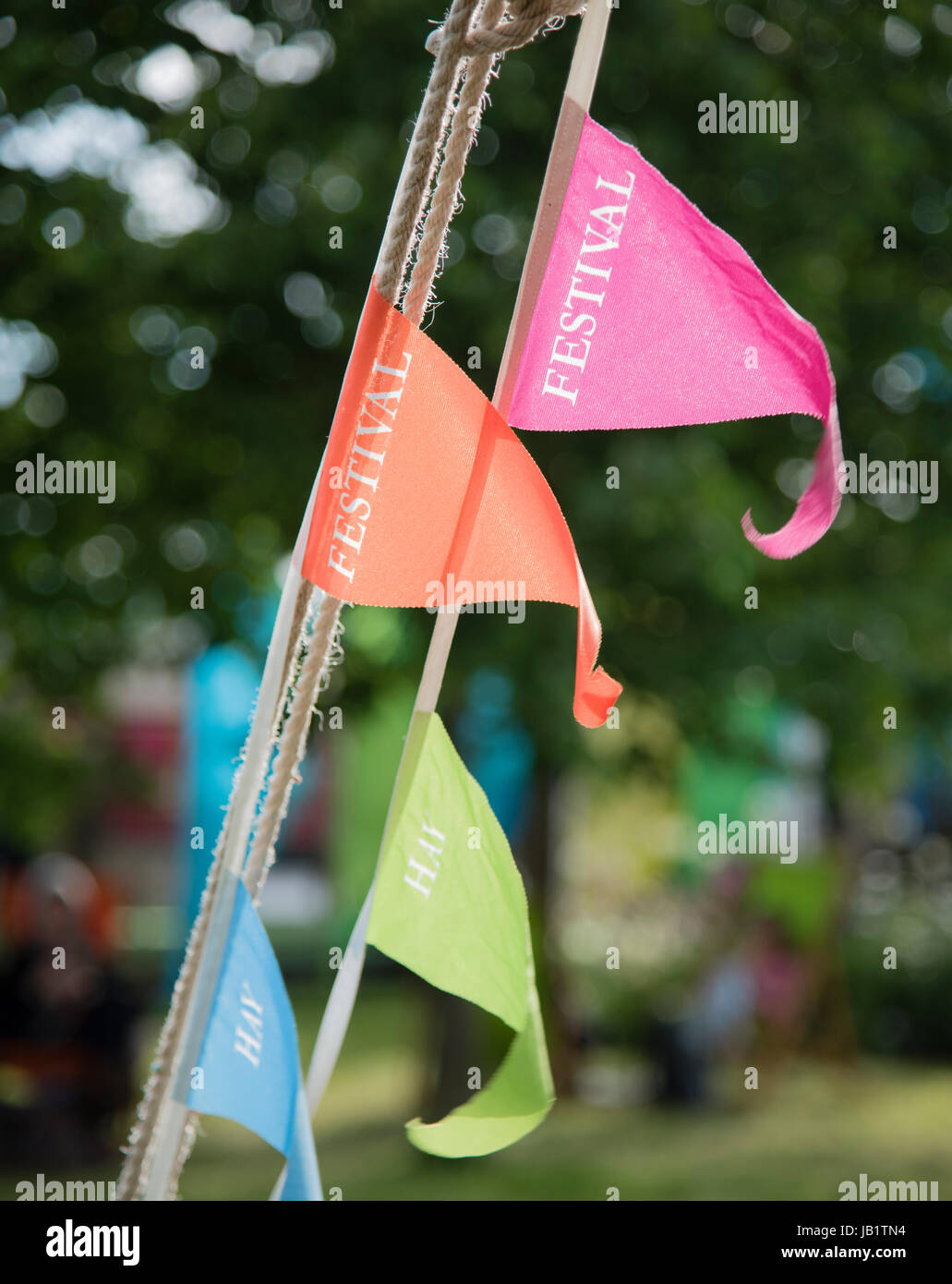 Bunting at Hay Festival 2017 - Stock Image