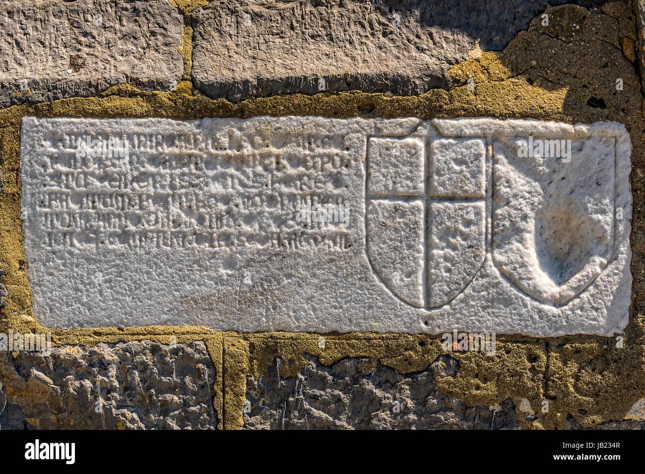Italy Liguria Portovenere - St Lorenzo basilica ( Madonna Bianca Sanctuary ) - Inscription on the exterior facade - Stock Image