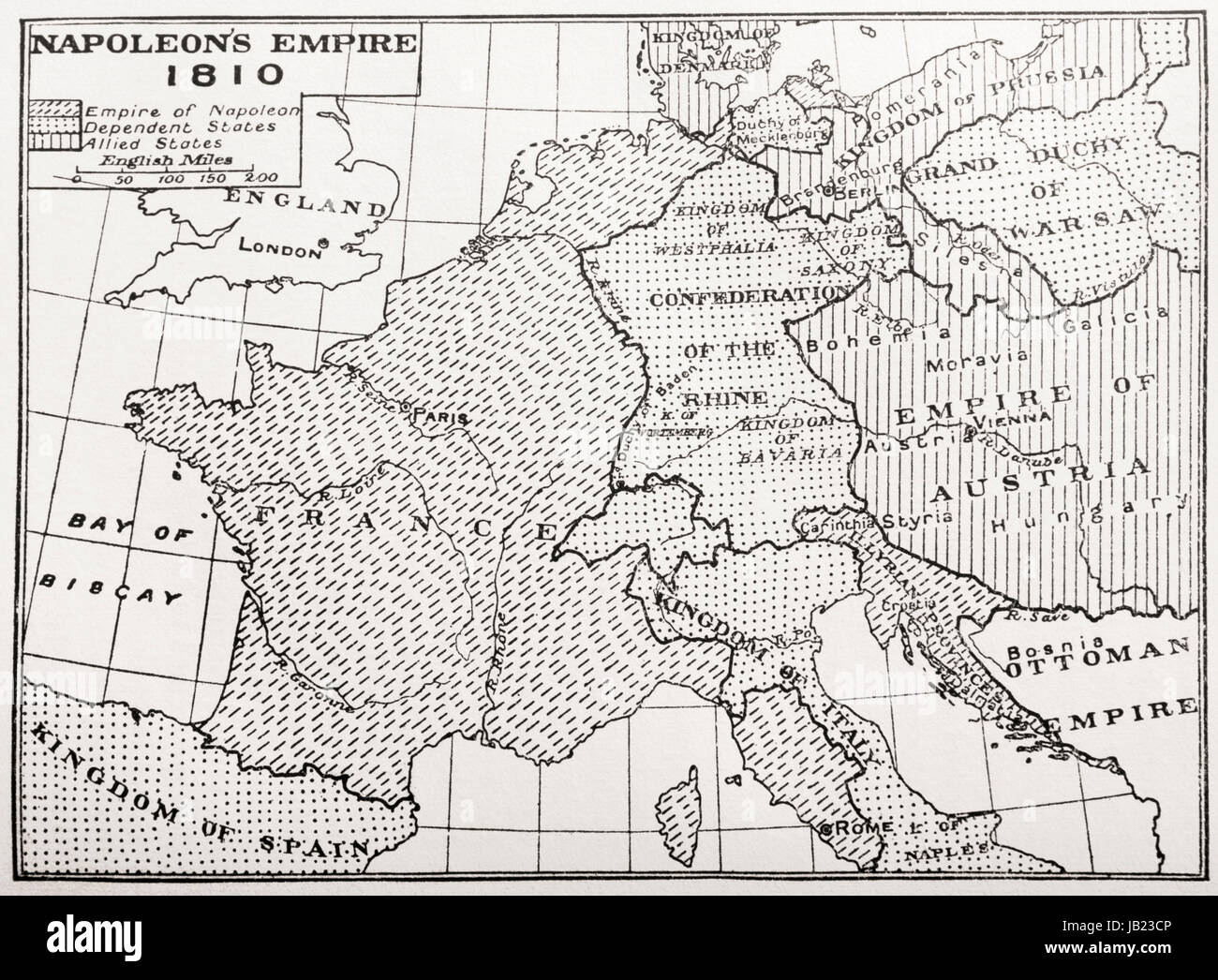 Map showing Napoleon's Empire, France, 1810.  From France, Mediaeval and Modern A History, published 1918. - Stock Image