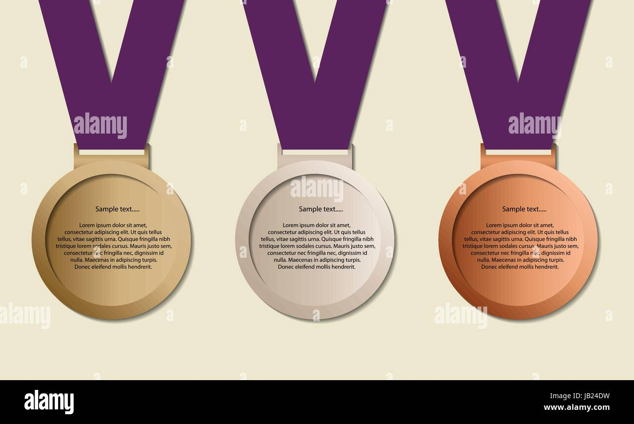 Medal in ribbon with copy-space, symbol for winning and success,  Medals for example Olympic games, vector - Stock Vector