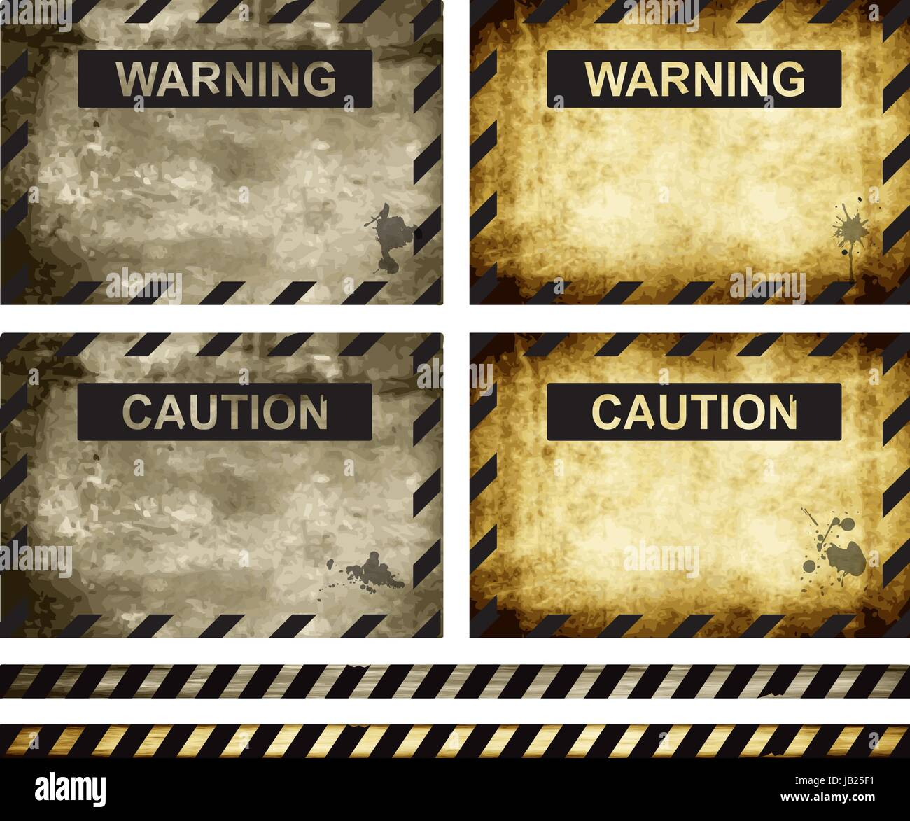 Old worn-out warning and caution signs, eps10 vector - Stock Vector