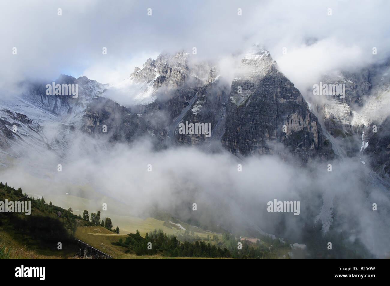 Steile Felswände der Stubaier Alpen und Wolkenschwaden, im Vordergrund Latschenkiefern Steep rock walls of the Stubai Stock Photo