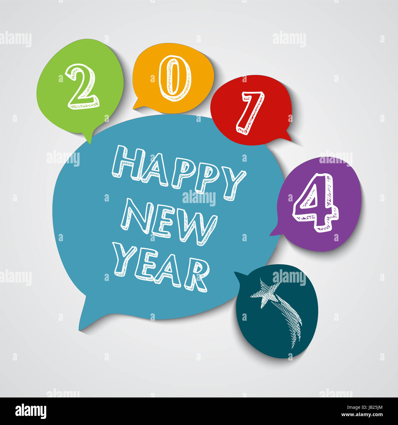 Happy new year 2014 social media bubble colors greeting card stock happy new year 2014 social media bubble colors greeting card illustration eps10 vector file with transparency layers m4hsunfo