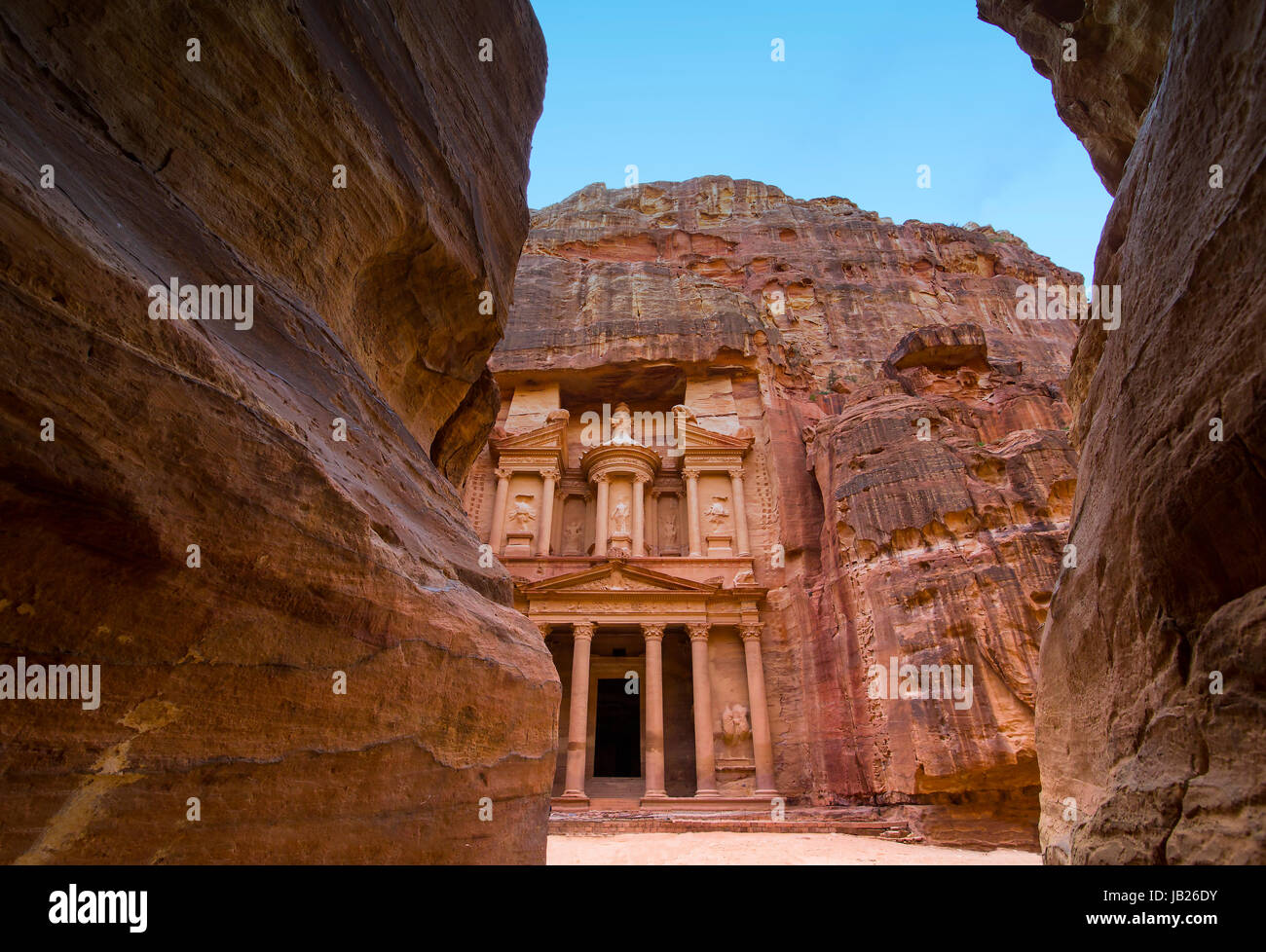 Ancient abandoned rock city of Petra in Jordan tourist attraction - Stock Image