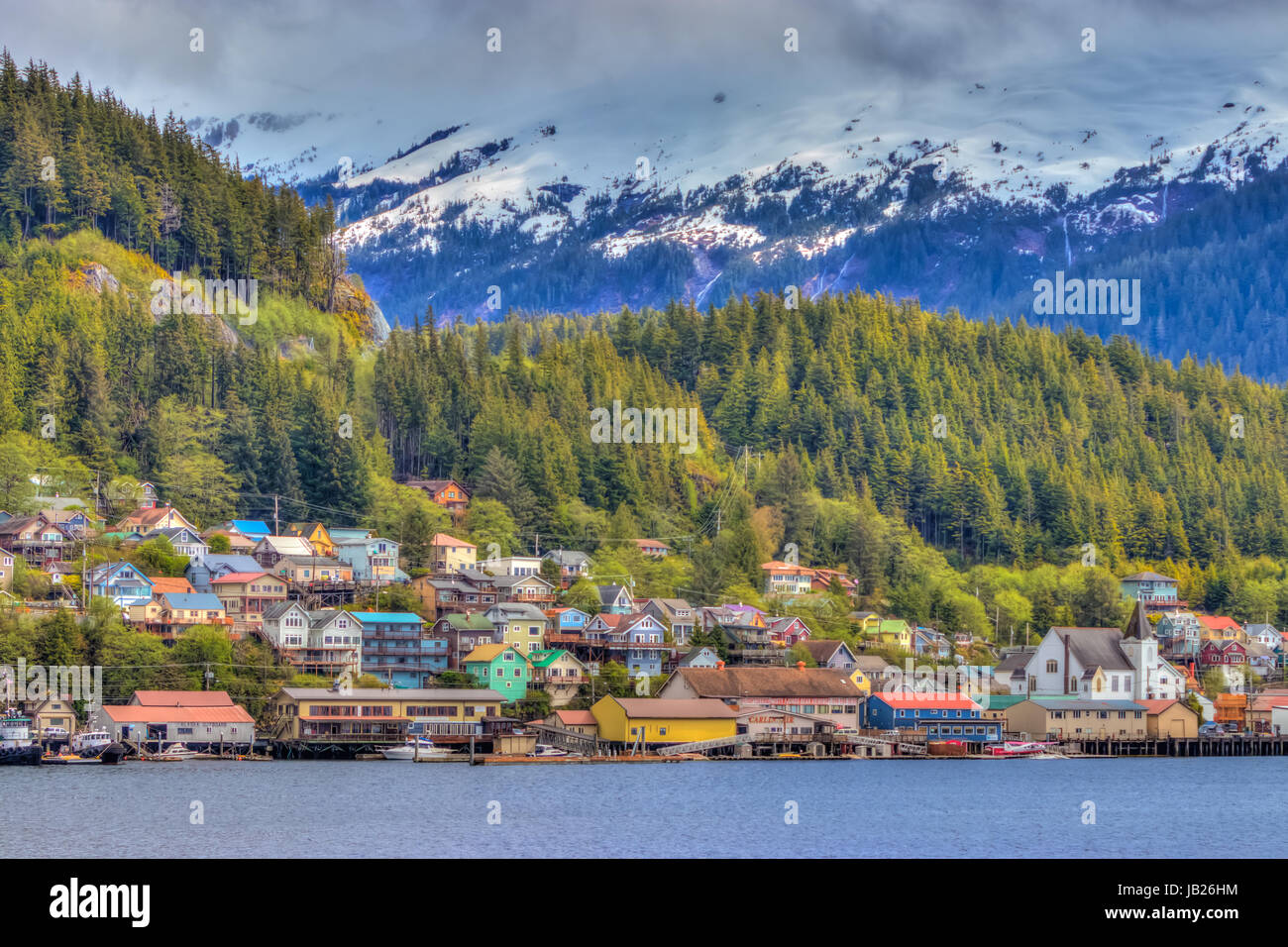 Colorful buildings in the cruise ship port of Ketchikan, Alaska, USA. - Stock Image