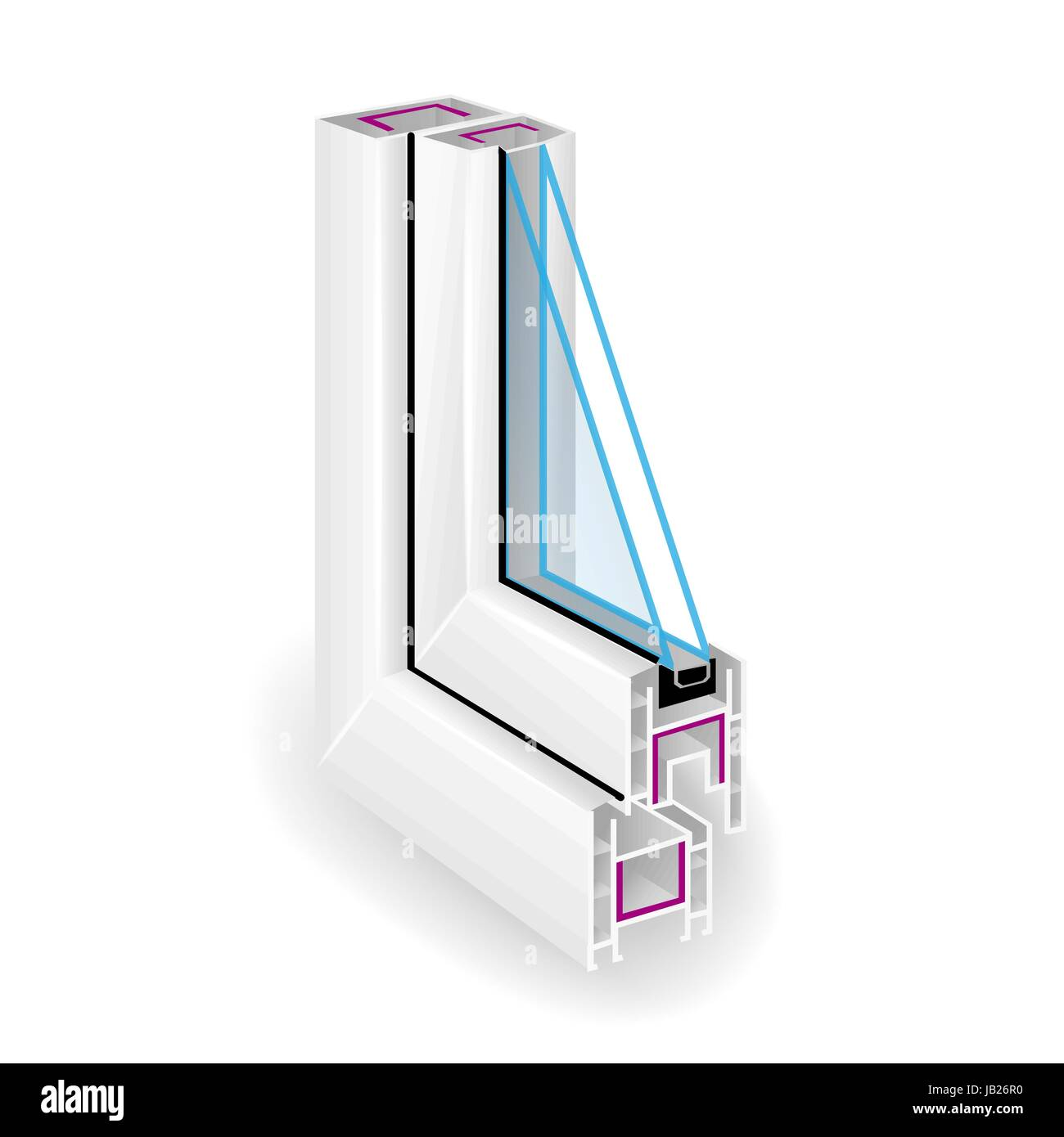 Plastic Profile Frame Window. Two Transparent Glass. Sectional View. Vector - Stock Vector