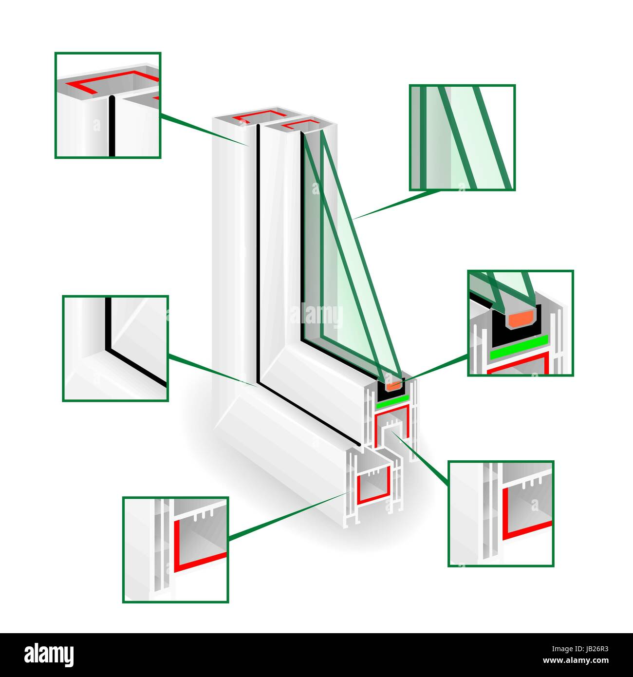 Plastic Window Frame Profile. Infographic Templeate. Vector - Stock Vector