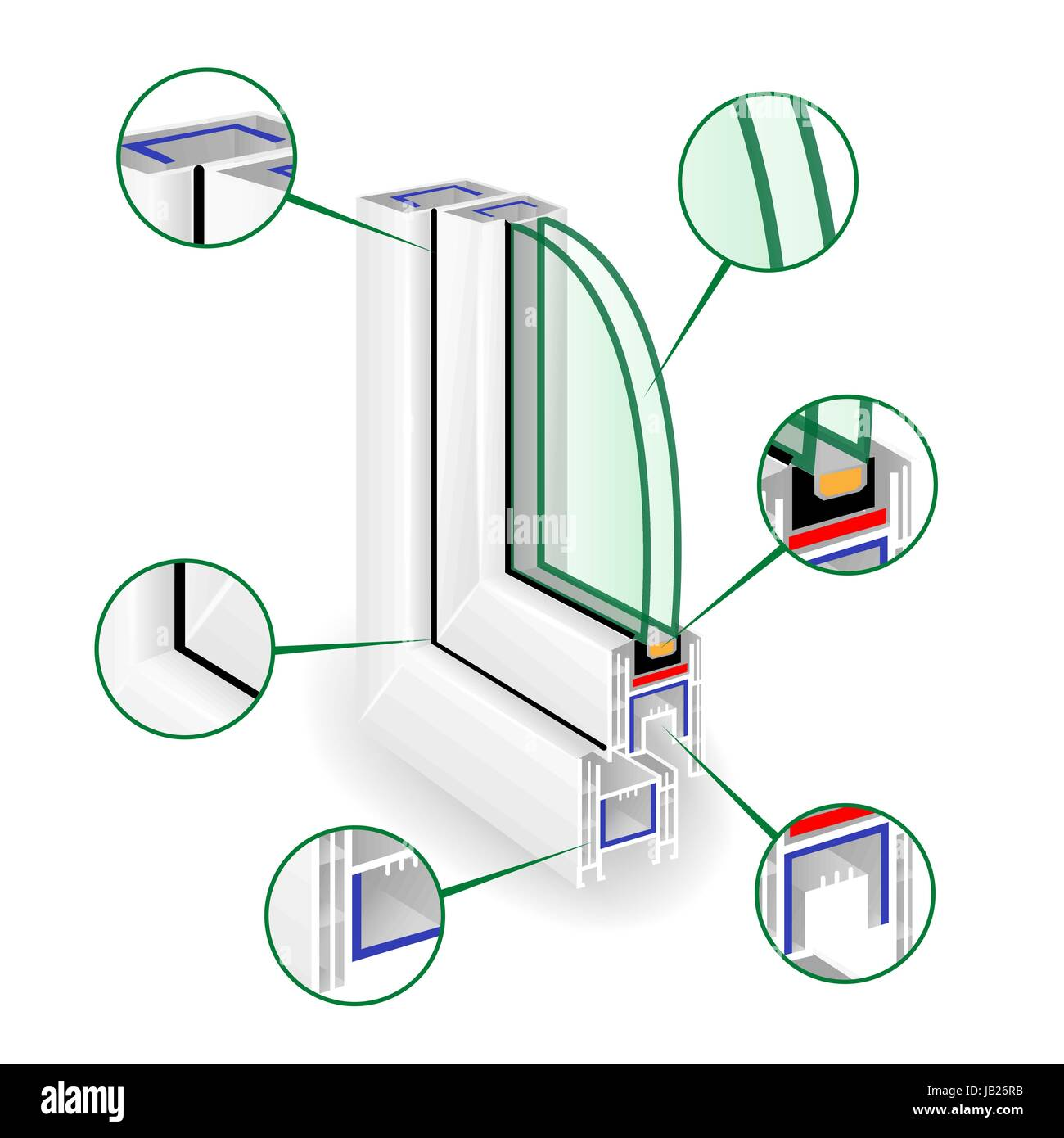 Plastic Profile Frame Window. Infographic Templeate. Sectional View. Vector - Stock Vector