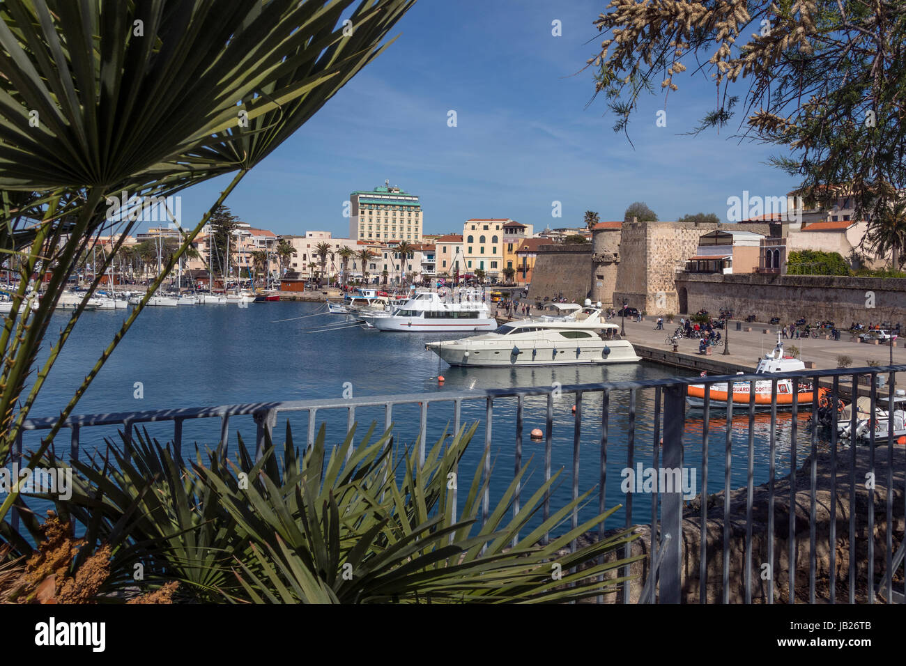 The port of Alghero in the province of Sassari on the northwest coast of the island of Sardinia, Italy. - Stock Image