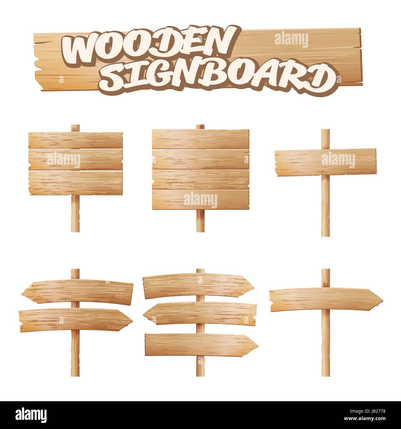 Wooden Signboards Set Vector. Empty Cartoon Banner. Arrow, Plank With Cracks. Wood Elements. Space For Text - Stock Vector