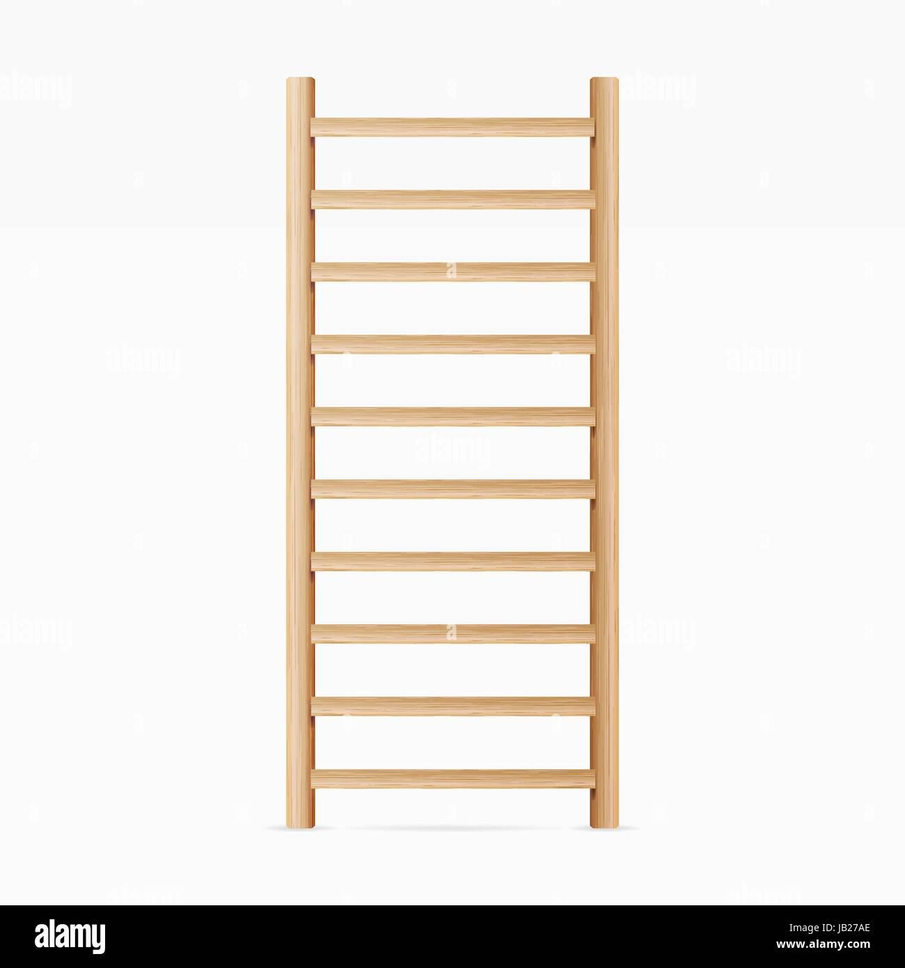 Gymnastics Wall Bars Ladder. Swedish Staircase Sports Gymnastics Ladder. Gymnastics Wall Gym Tool. Sports Ladder - Stock Image