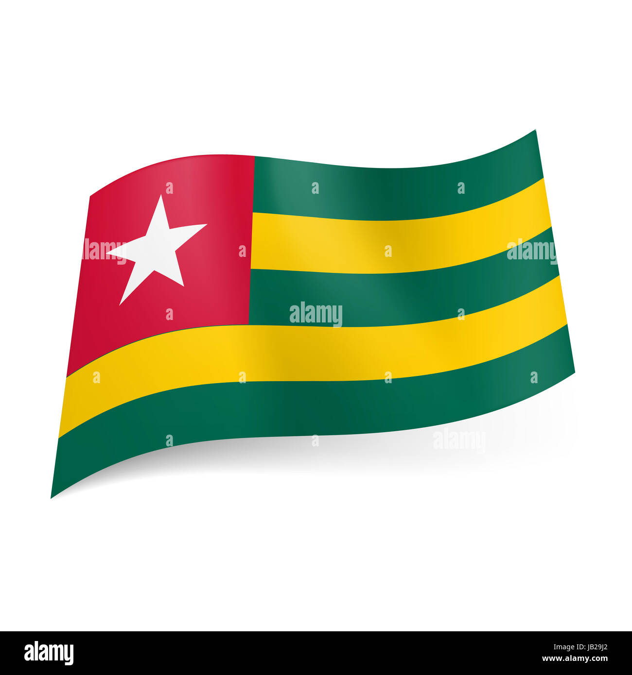 National Flag Of Togo Green And Yellow Horizontal Stripes Red