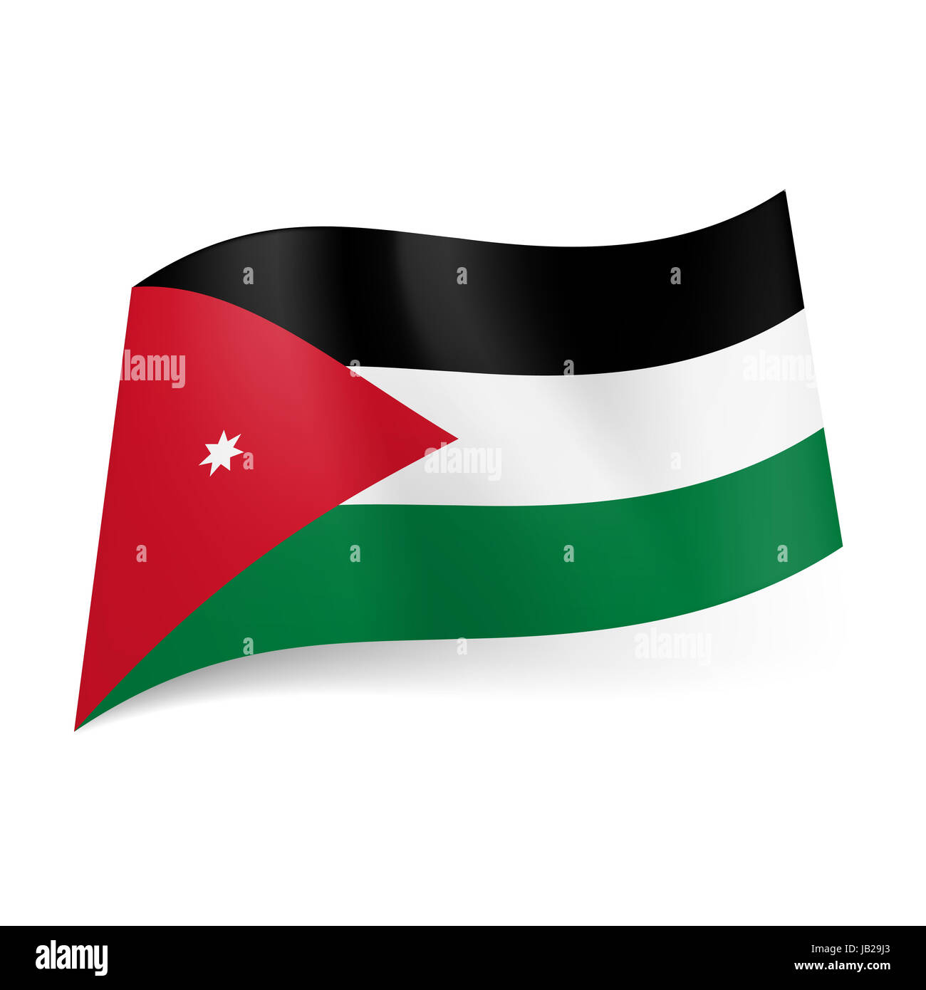 National flag of Jordan: black, white and green horizontal stripes, red triangle with white star on left side - Stock Image