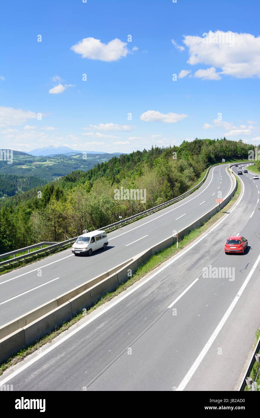 freeway A2 at mountain Wechsel, view to mountain Schneeberg, Zöbern, Wiener Alpen, Alps, Niederösterreich, - Stock Image