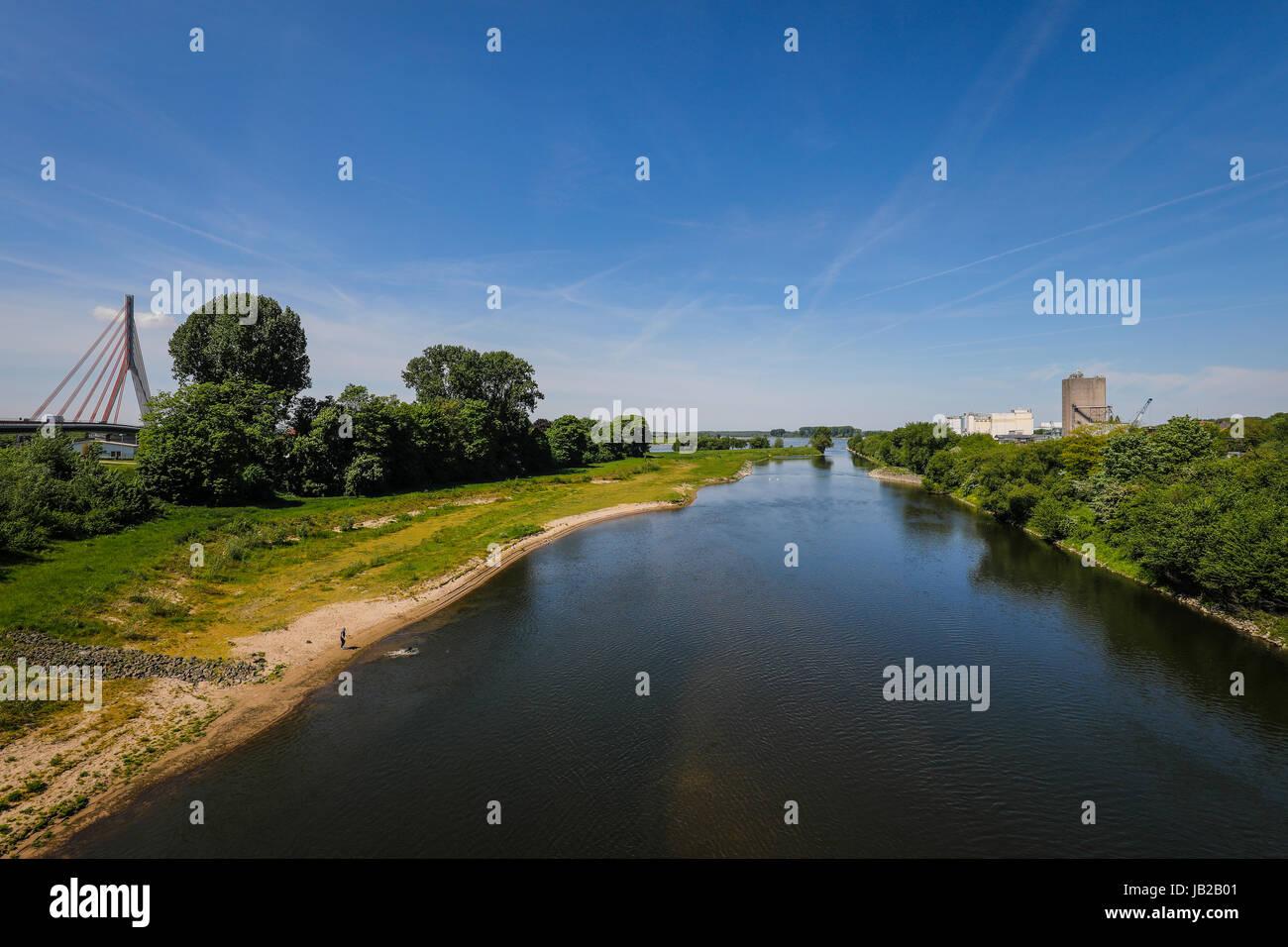 Lippe, river estuary in the Rhine, renaturalised meadow landscape, Wesel, Lower Rhine, North Rhine-Westphalia, Germany, Stock Photo