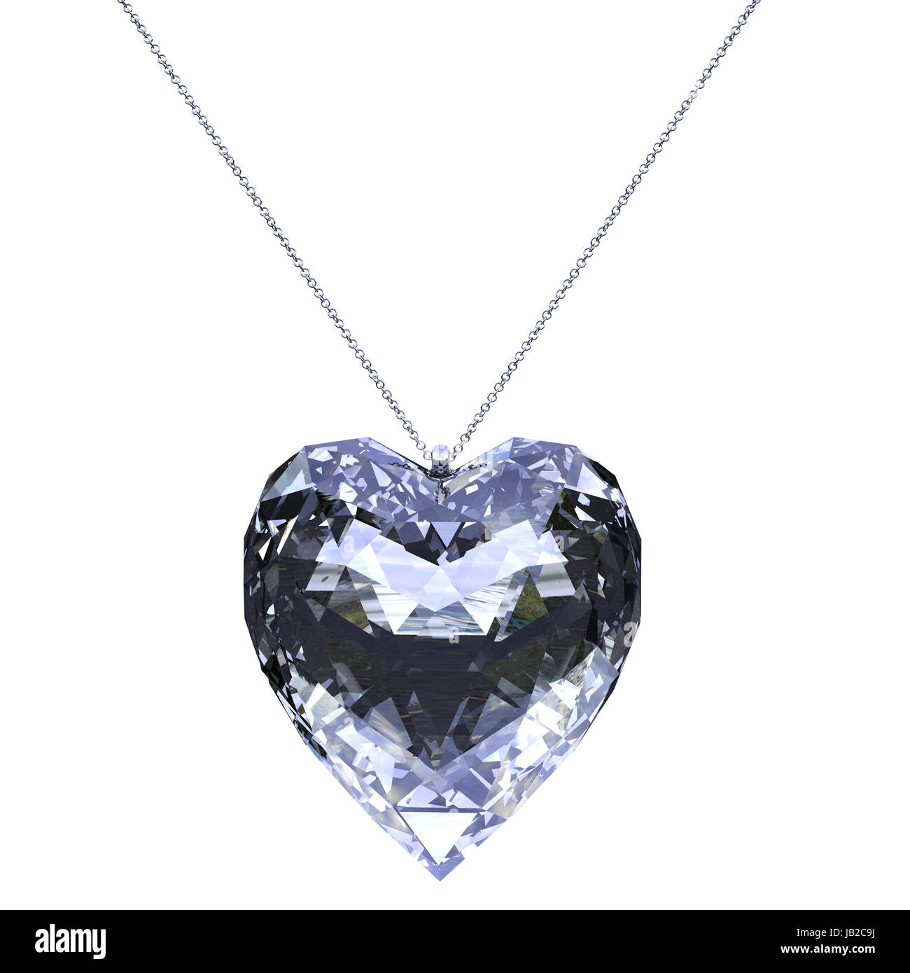 pendant glossy heart shaped made in 3d with clipping path - Stock Image