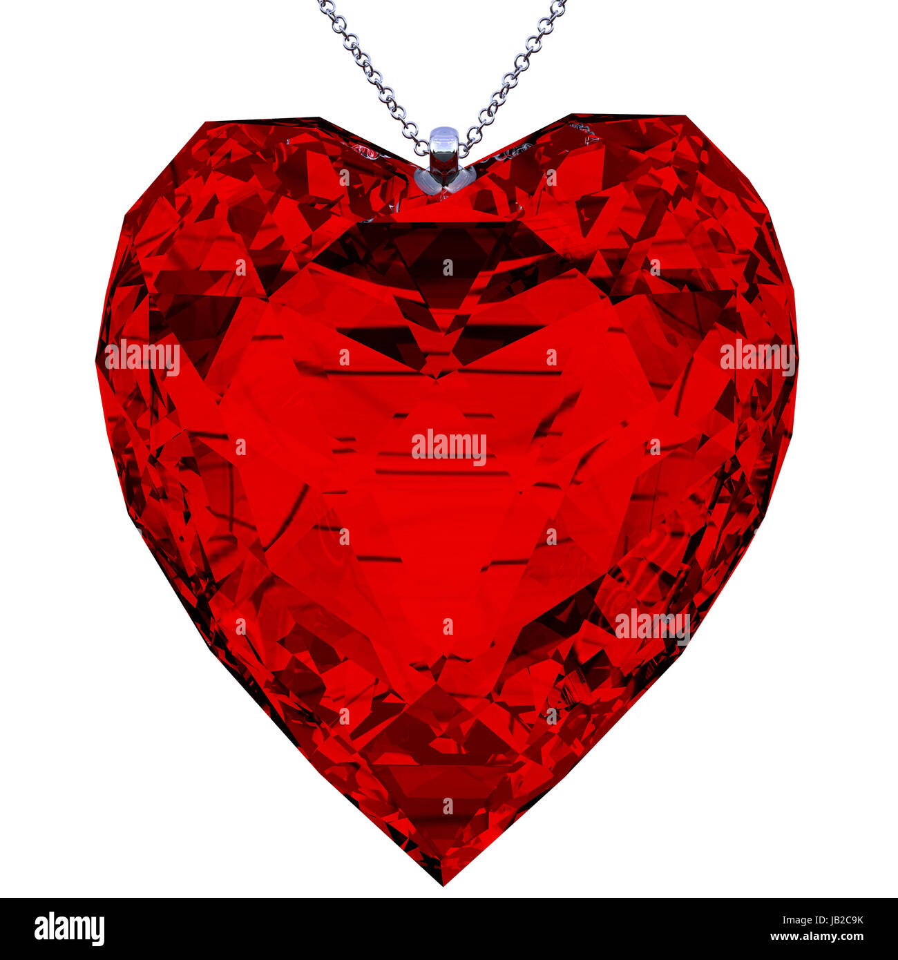 pendant in the shape of red heart made in 3D with clipping path - Stock Image