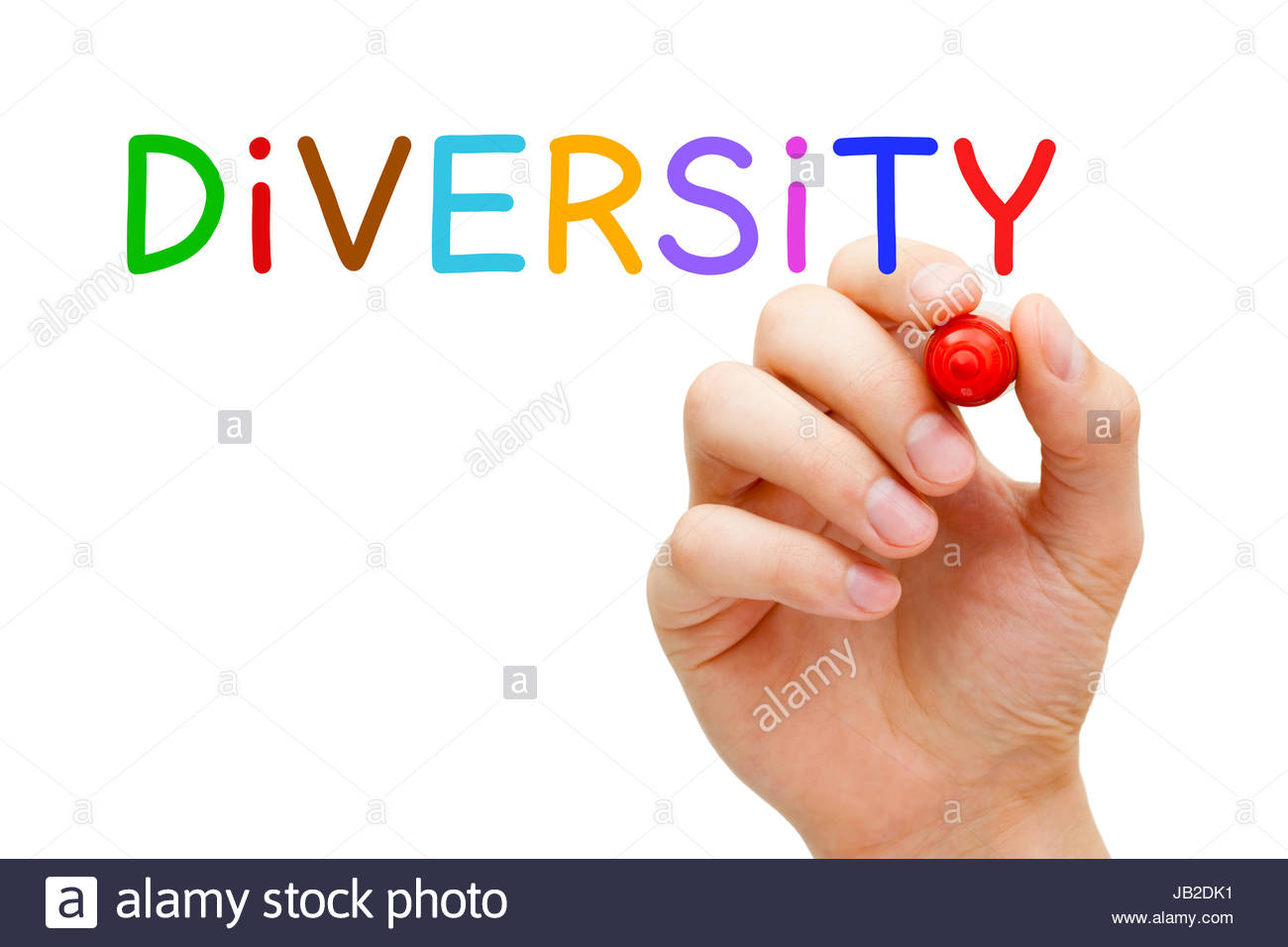 Hand writing Diversity with marker on transparent wipe board. - Stock Image