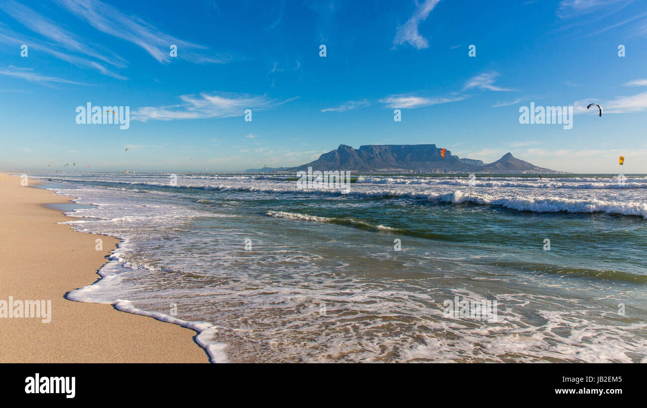 Tablemountain seen from Bloubergstrand Stock Photo
