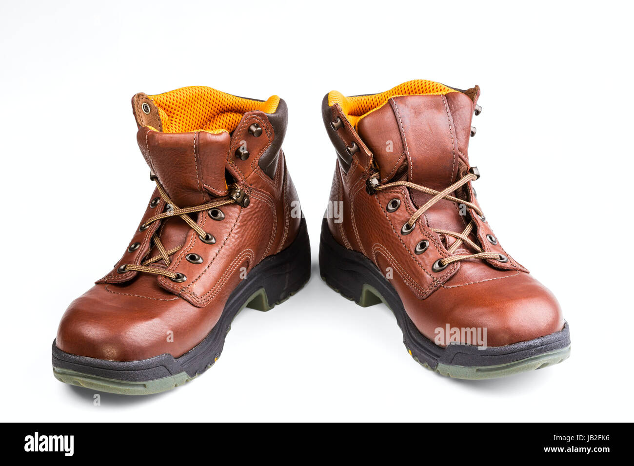 brown men's boots isolated on white background Stock Photo