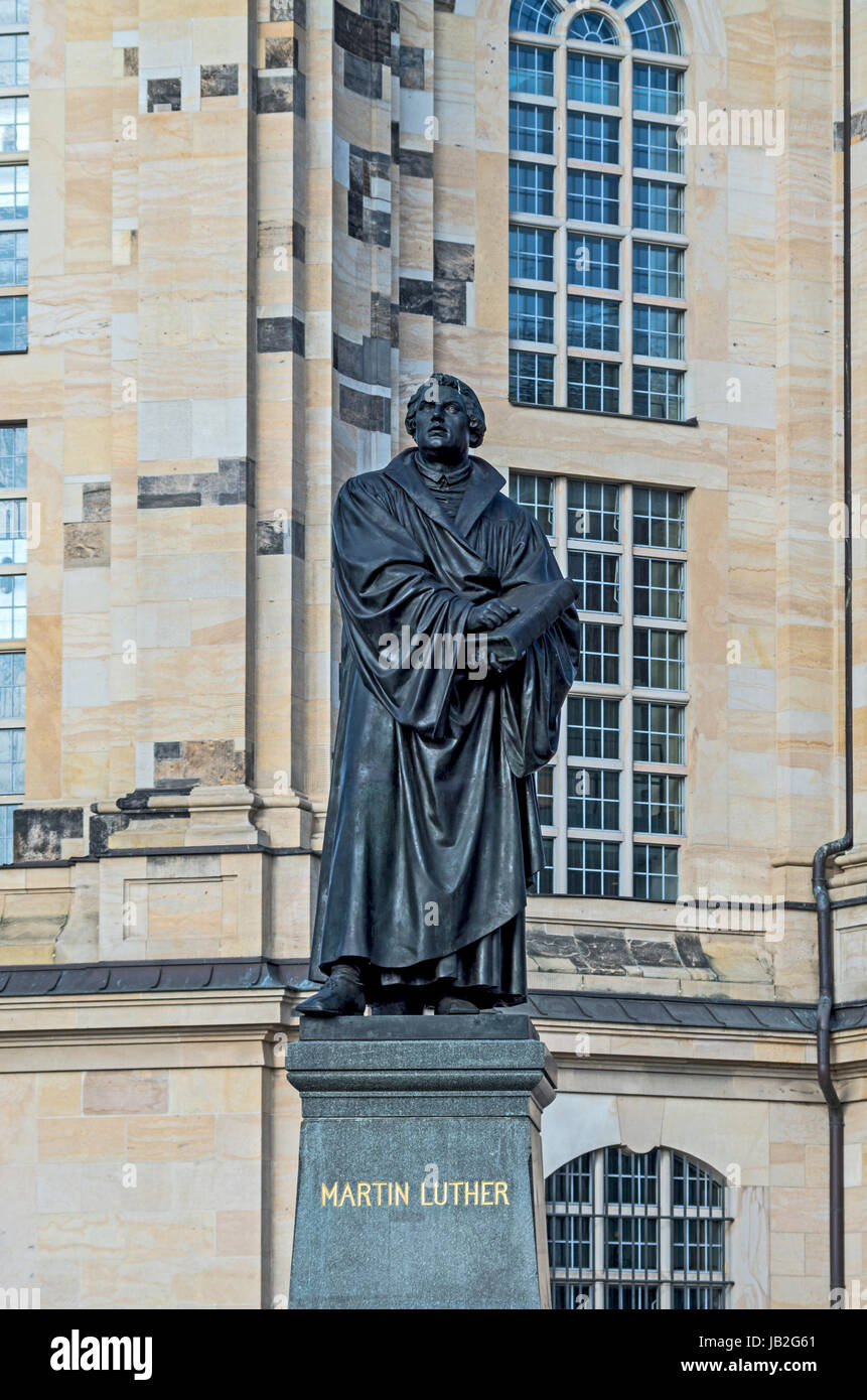 Martin Luther monument in the Frauenkirche square in Dresden Stock Photo
