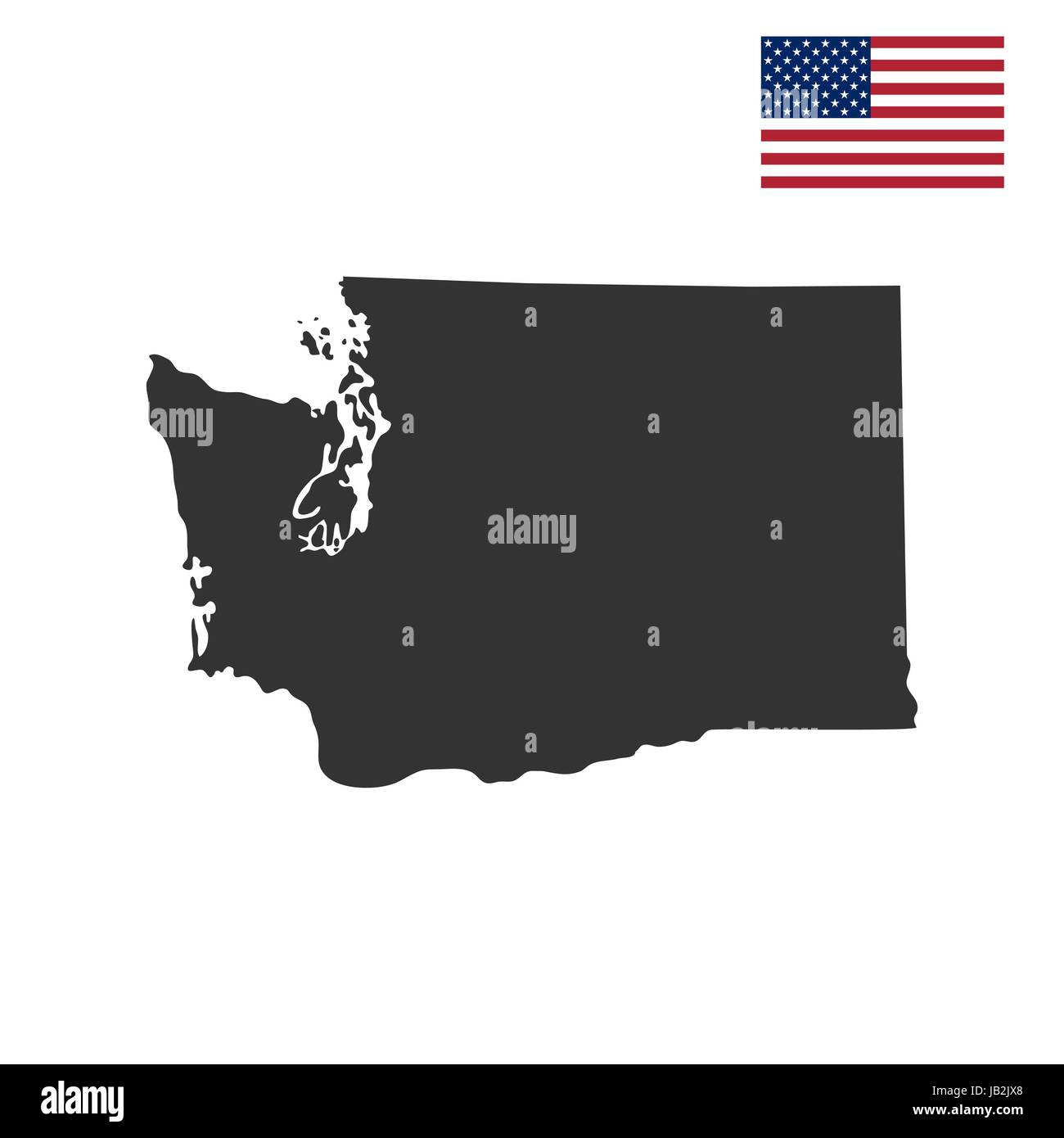 map of the U.S. state of Washington - Stock Vector