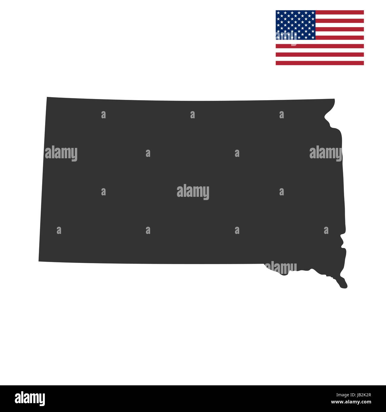 Map Of The U S State Of South Dakota Stock Vector Art