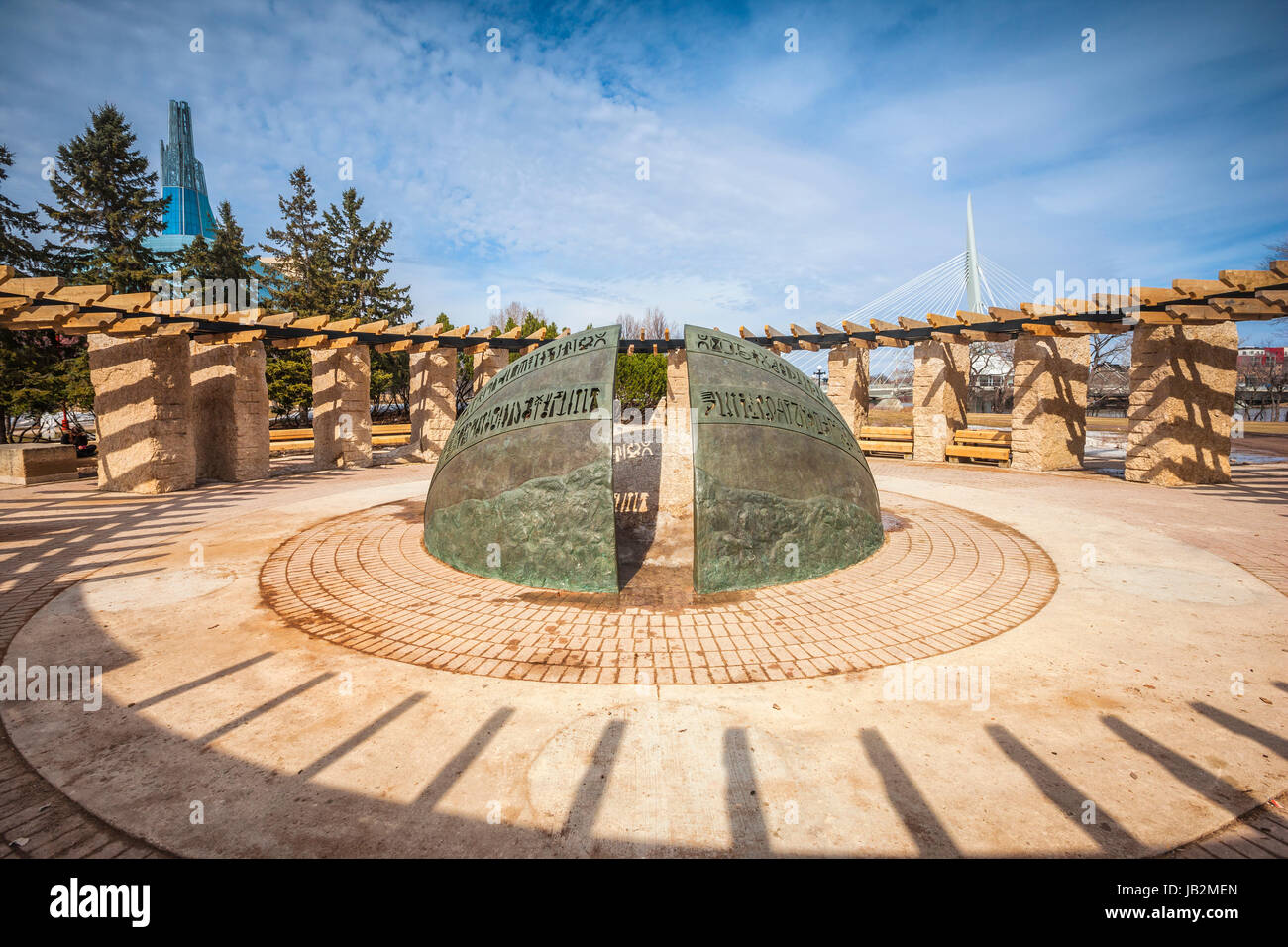 The Path of Time Sculpture, Orientation Circle, The Forks National Historic Site in Winnipeg, Manitoba, Canada. - Stock Image