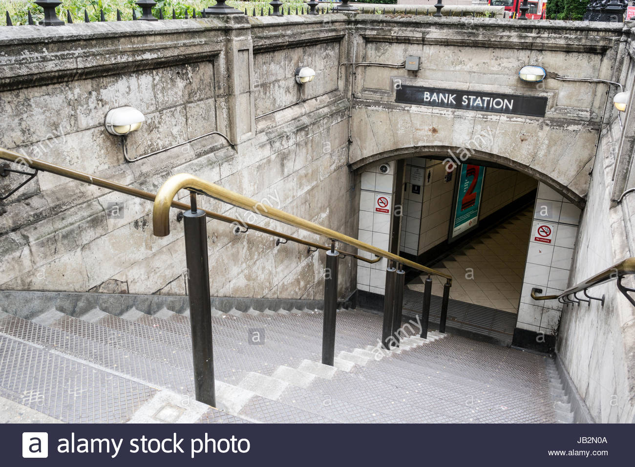 Entrance to Bank Underground Station in the City of London, England, UK - Stock Image