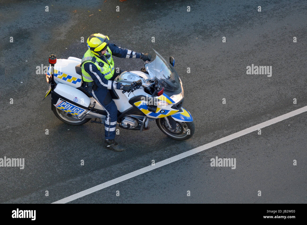 Police - Force Traffic Biker. Traffic Police Monitor traffic to ensure motorists observe traffic regulations and - Stock Image