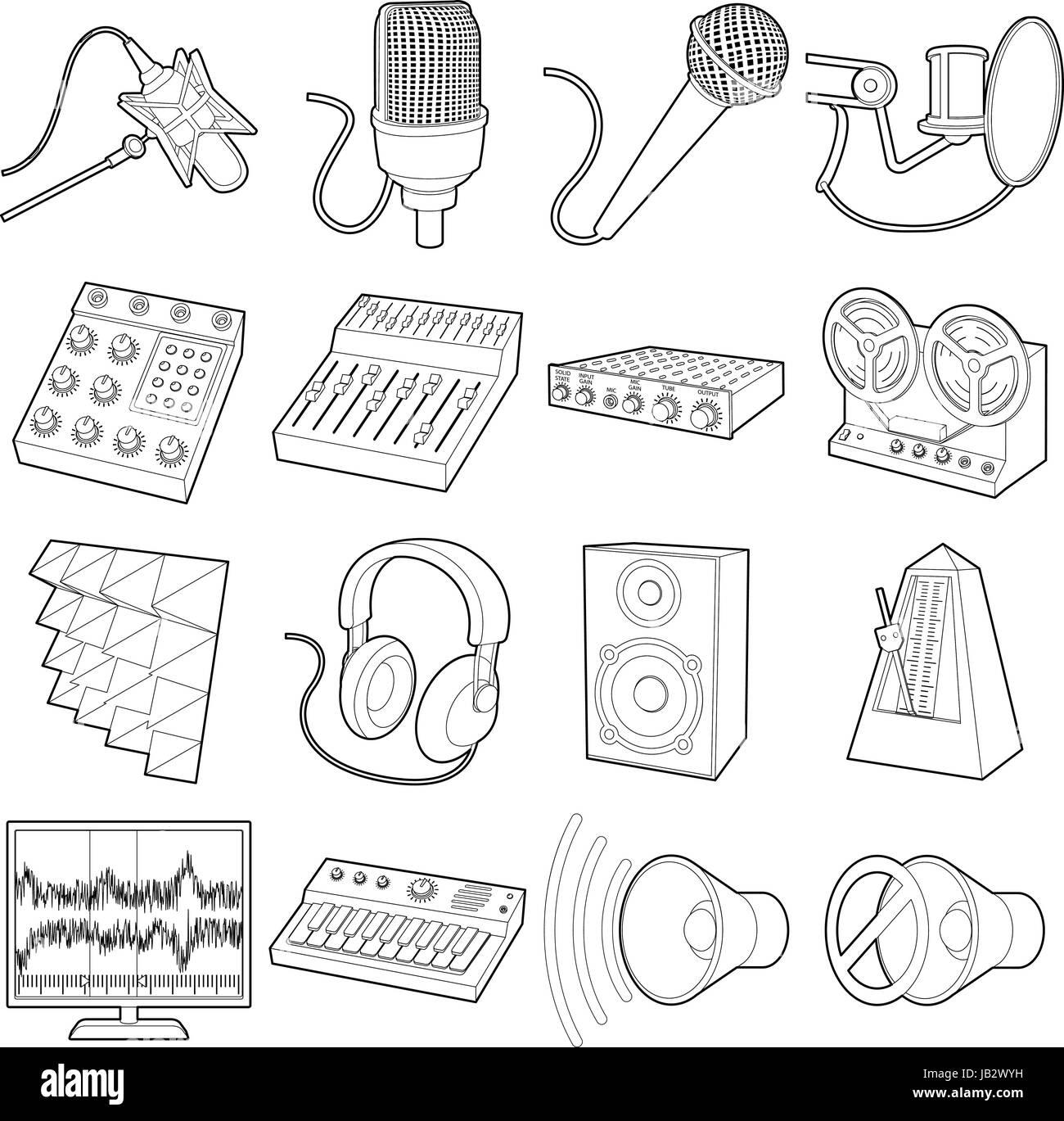Recording studio symbols icons set, outline style - Stock Image