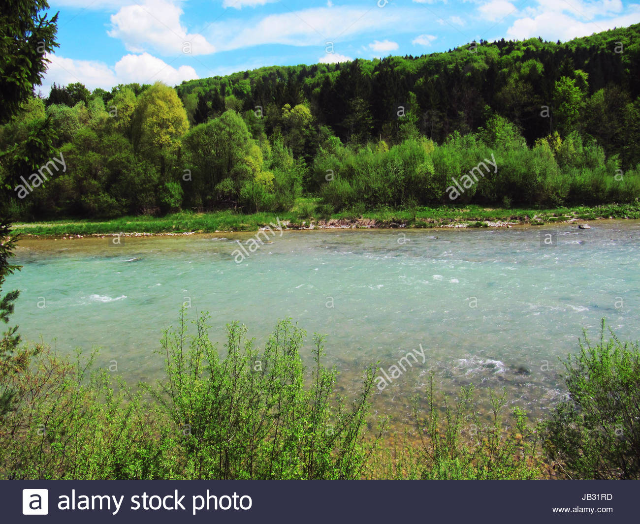 Isar in der Pupplinger Au, bei Geretsried Isar river in the Pupplinger Au near Geretsried - Stock Image