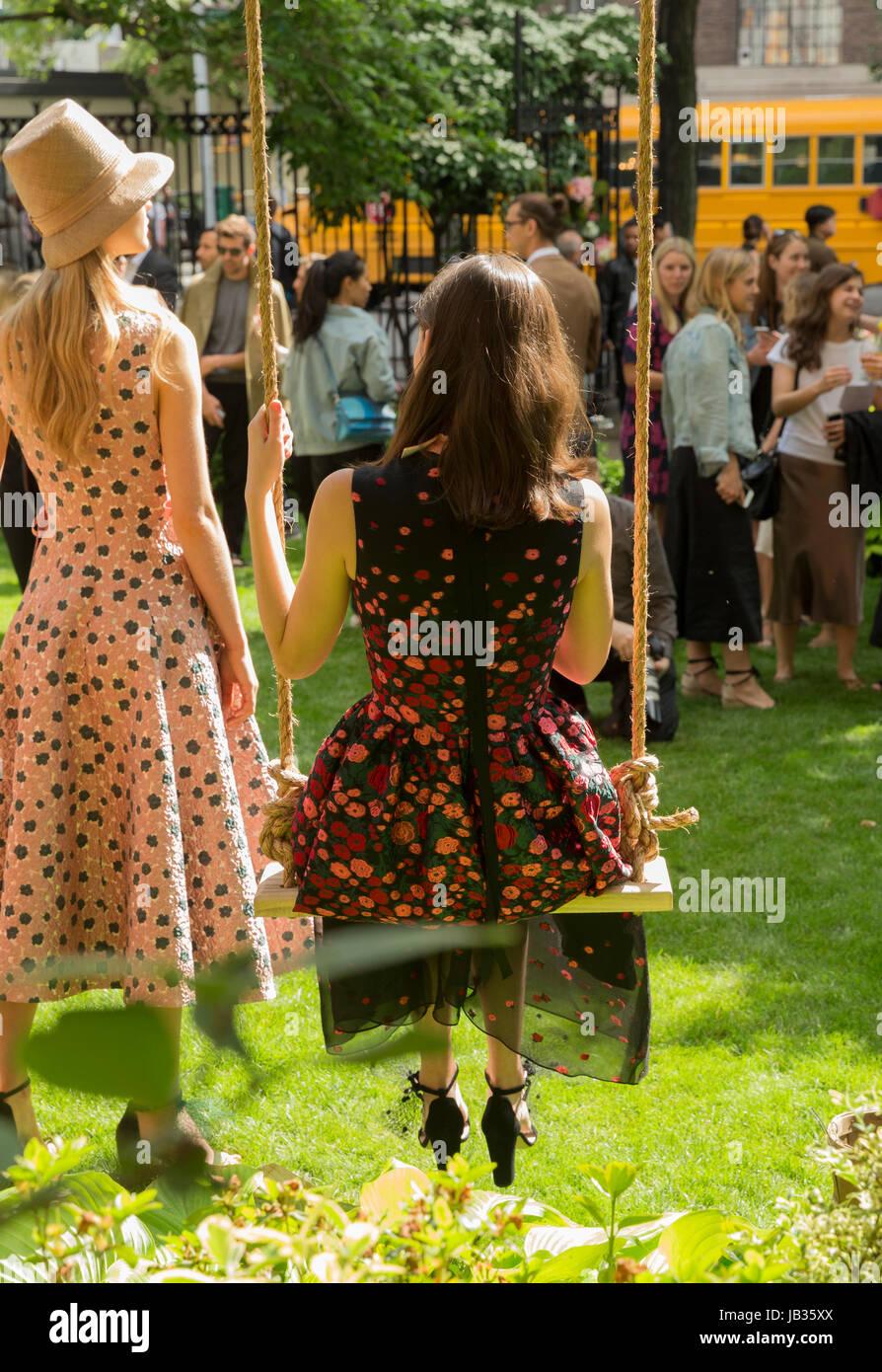 Model shows off dress for designer Lela Rose Resort 2018 collection ...