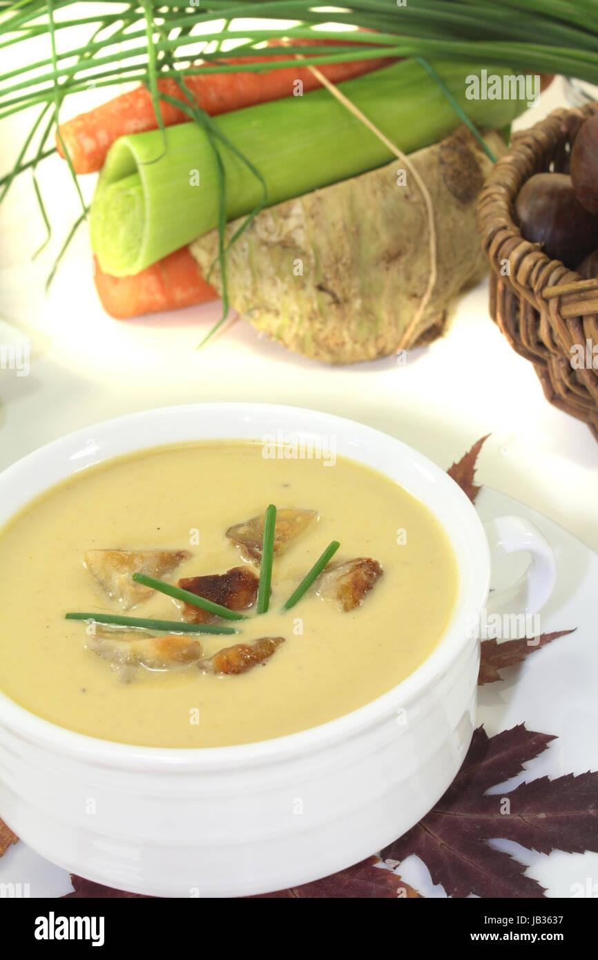 Maronensuppe mit Gemüse vor hellem Hintergrund - Stock Image