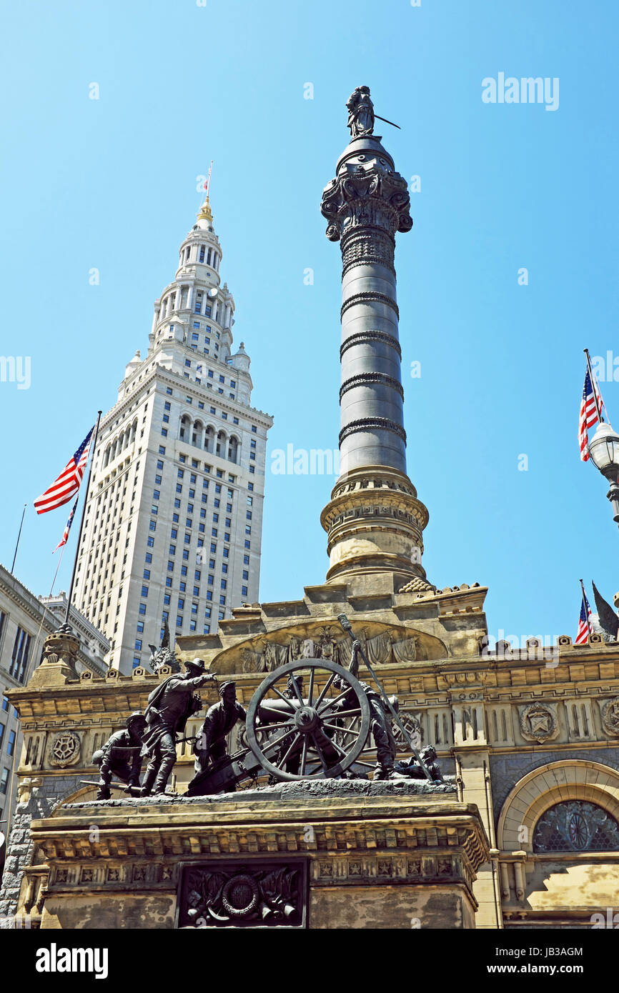 Built in 1894 the Soldiers' and Sailor's Monument in downtown Cleveland Ohio is a commemoration of the those - Stock Image