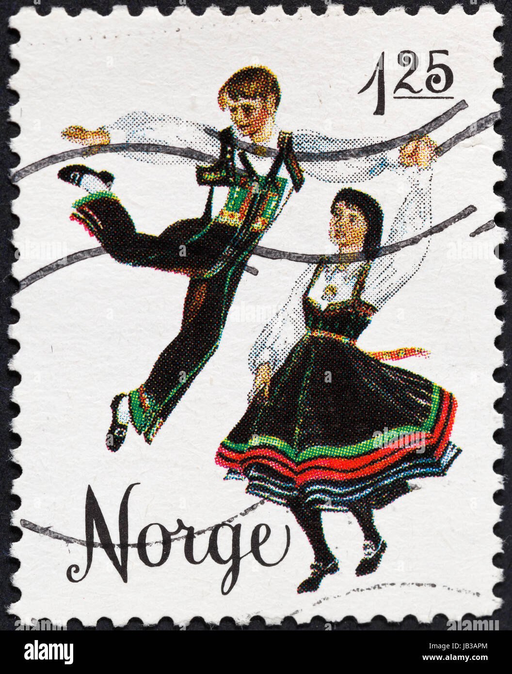 NORWAY - CIRCA 1976: A postage stamp printed in the Norway shows national norwegian folk dance gangar, circa 1976 Stock Photo
