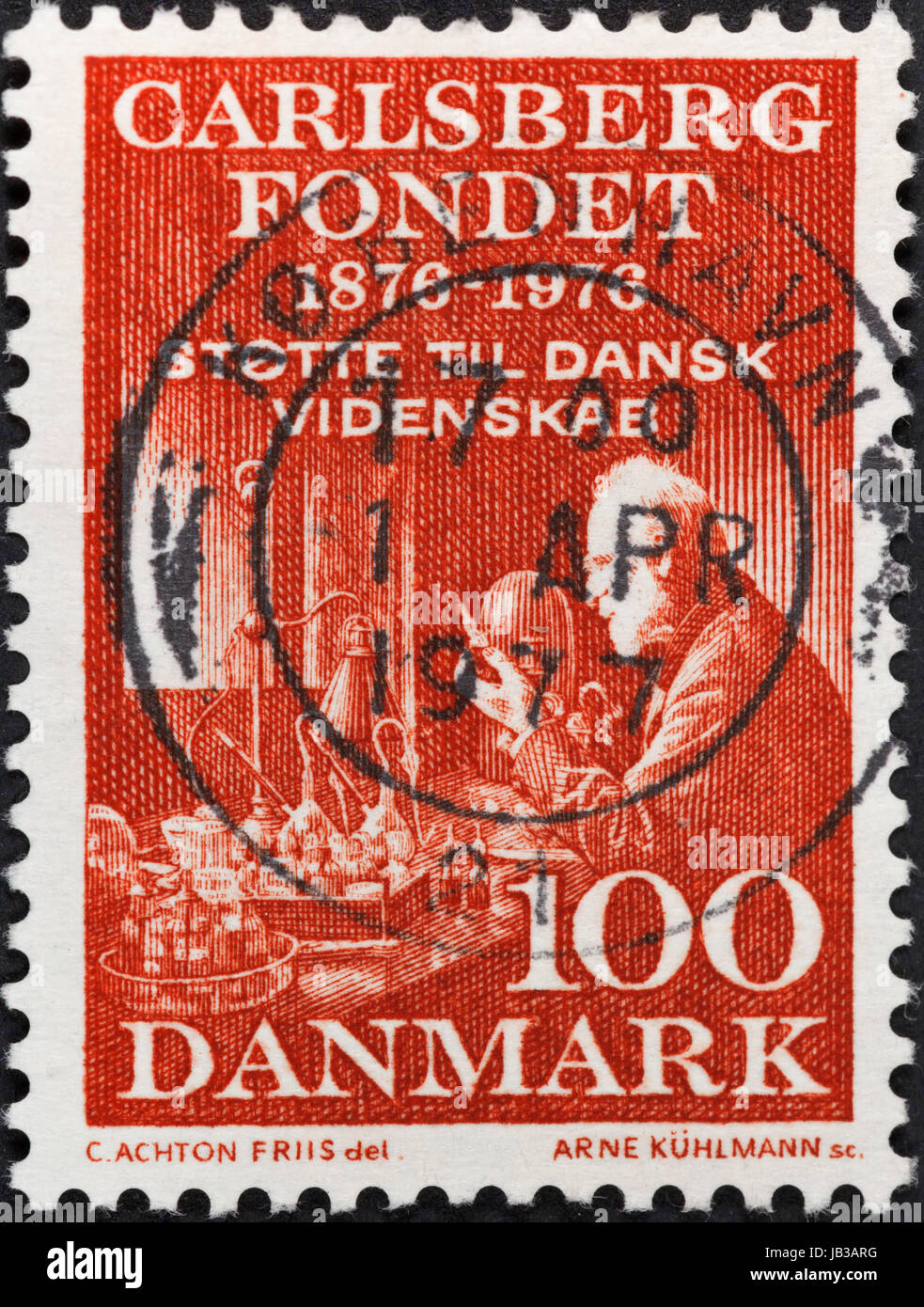 DENMARK - CIRCA 1976: A postage stamp printed in the Denmark shows Carlsberg Laboratory funded by Carlsberg foundation, - Stock Image