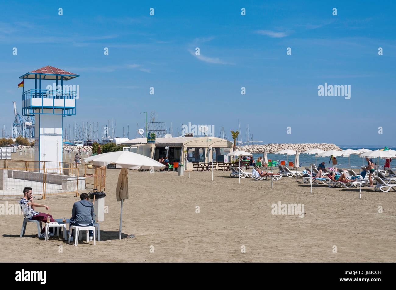 Phoinikoudes Beach, Larnaca, Larnaca District, Republic of Cyprus - Stock Image